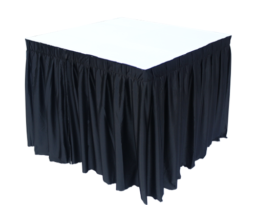 3ft Square Table Black with Skirting