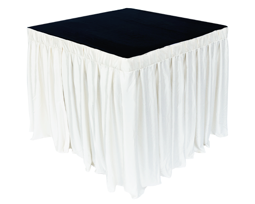 3ft Square Table White with Skirting