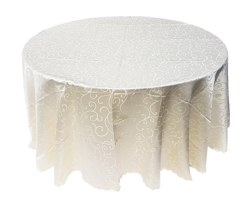 4.5ft Round Table with Ivory Linen
