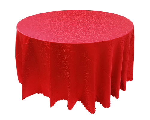 4.5ft Round Table with Red Linen