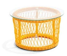 Rattan Round Table Yellow