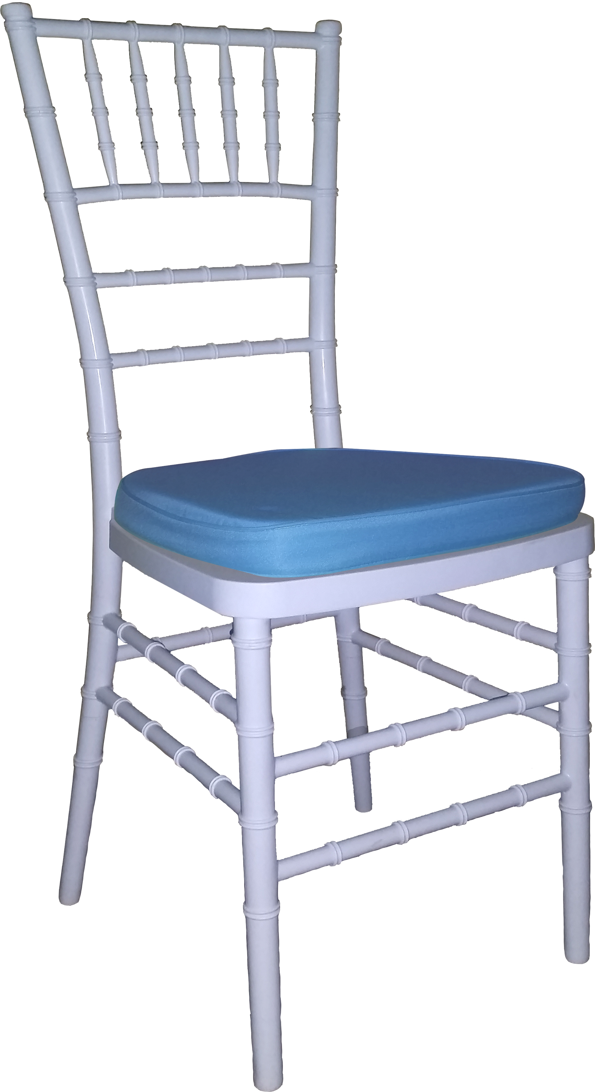 Tiffany Chair White With Blue Cushion
