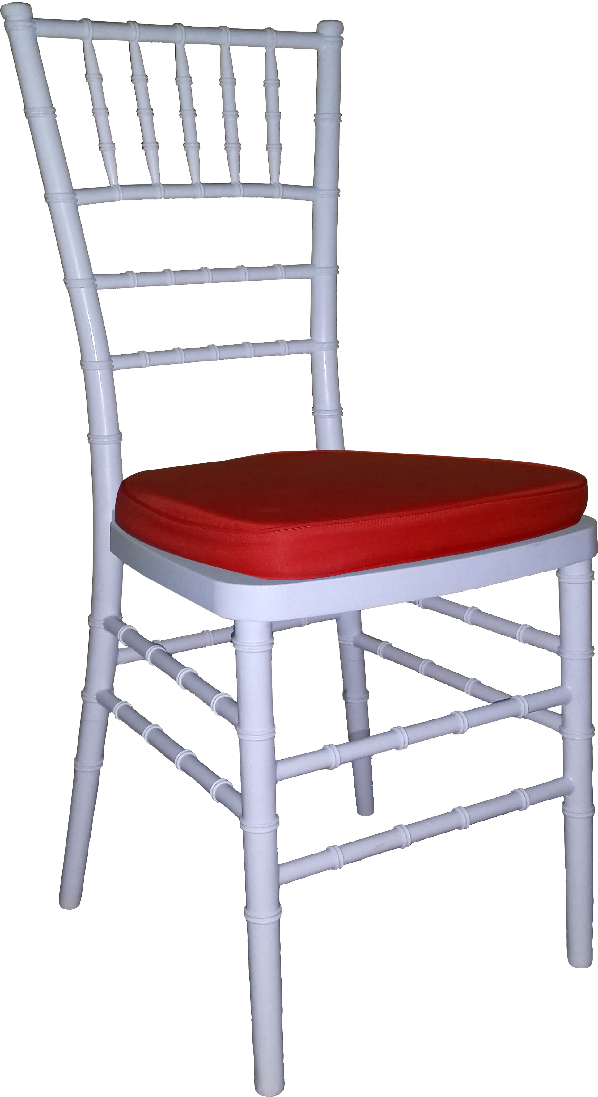 Tiffany Chair White With Red Cushion
