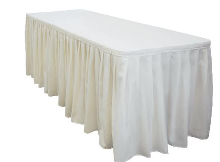Trist Table with Ivory White Skirting